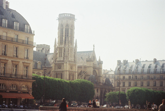 ch st germain l auxerrois and bell tower of cityhall of paris
