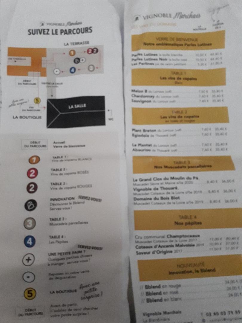 thouare sur loire vig marchais menu tastings jun21