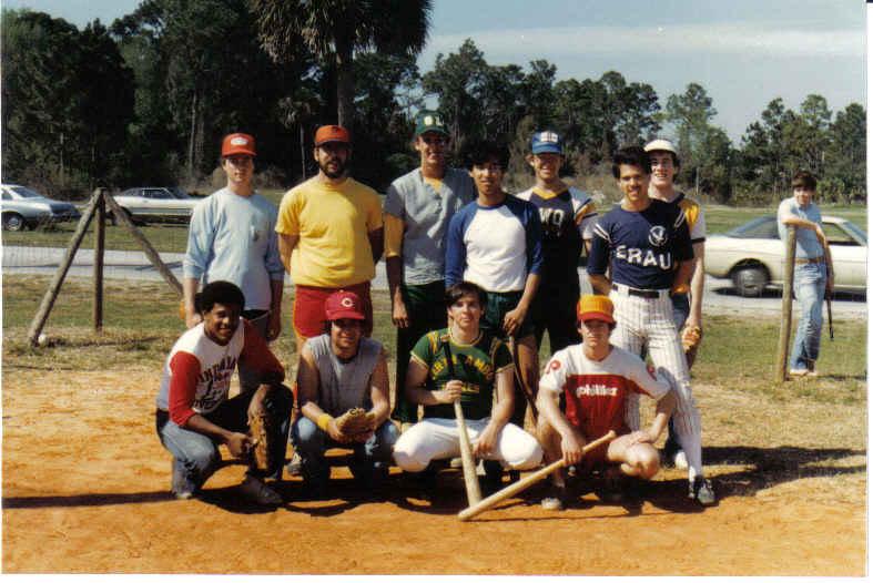 db ERAU management club softball team pedro in green in front seated 1981