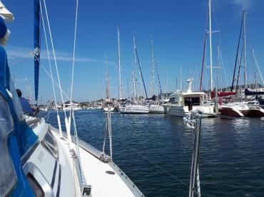 Port du Crouesty blue lagoon boat arriv back marina jul21