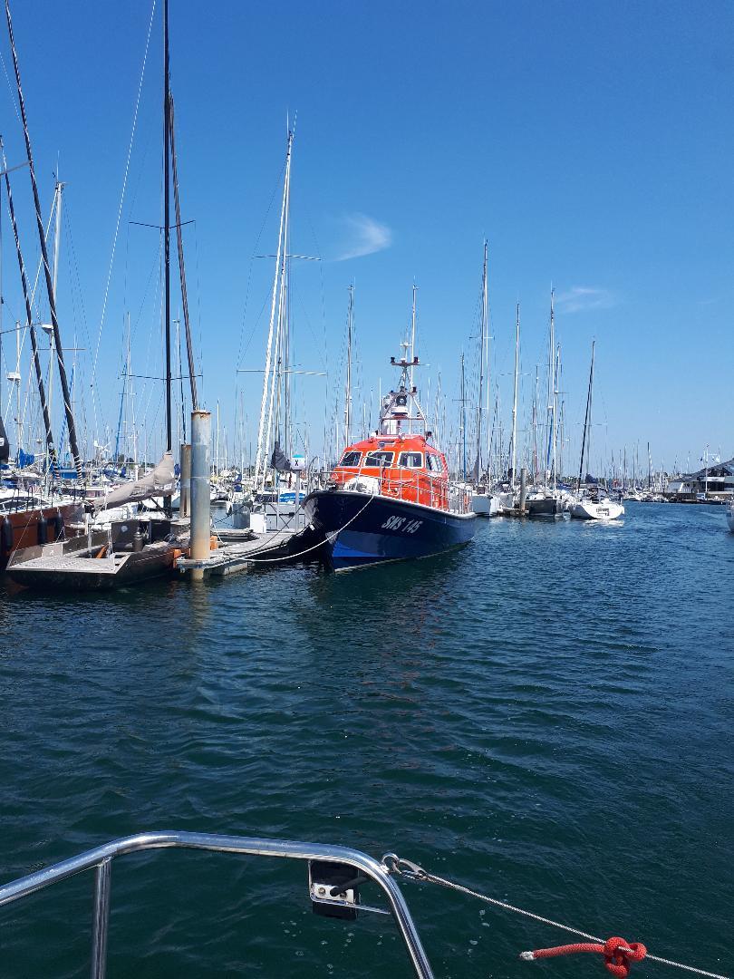 Port du Crouesty SNSM boat at marina jul21