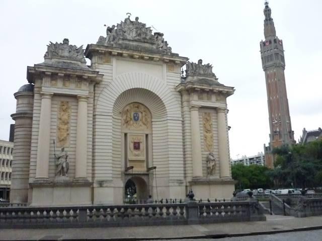 Lille porte de Paris and Belfry behind c2000