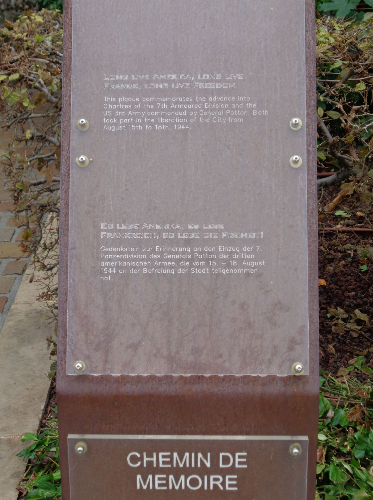 Chartres chemin de memoire Gen Patton 3rd army 7th armor div liberated sep21